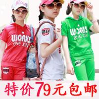 Children's clothing 2012 summer female child child short-sleeve sports set hooded t-shirt capris