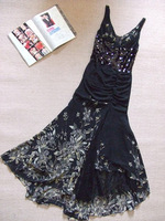 10.19 black print handmade beaded slim long evening dress design fashion star red carpet
