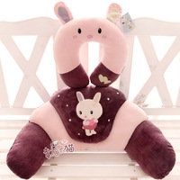 Blue and white doll cartoon rabbit baby plush doll waist support cushion pillow neck u pillow