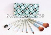 Free Shipping!!! 9pcs Goat Hair Blue Foundation Brush Brush Set With Bag