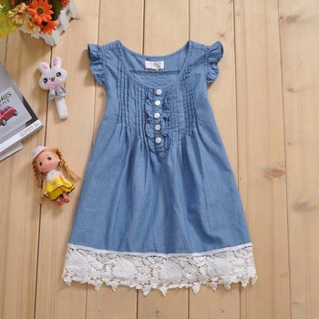 Freeshipping Children's clothing place female child denim one-piece dress