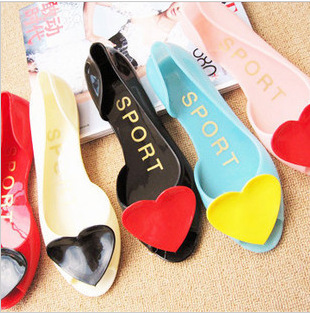 free shipping Peach heart colour crystal jelly fish mouth shoes sandals love flat soft gel jelly sandal