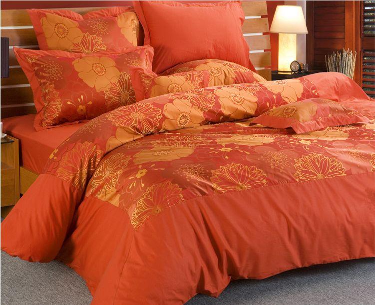 Luxury silk bedding wedding bedding sets king size orange comforters