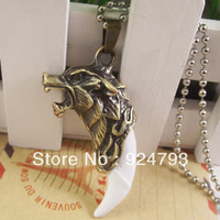 Min order $10, Free Shipping Fashion Stainless Steel Pendant Stainless Steel Necklace Wolf Tooth Pendant Wolf Necklace
