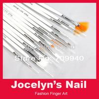 Free Shipping 15pcs Nail Art Design Brushes Gel Set Painting Draw Pen Polish ITEM NO.00503 Dropshipping