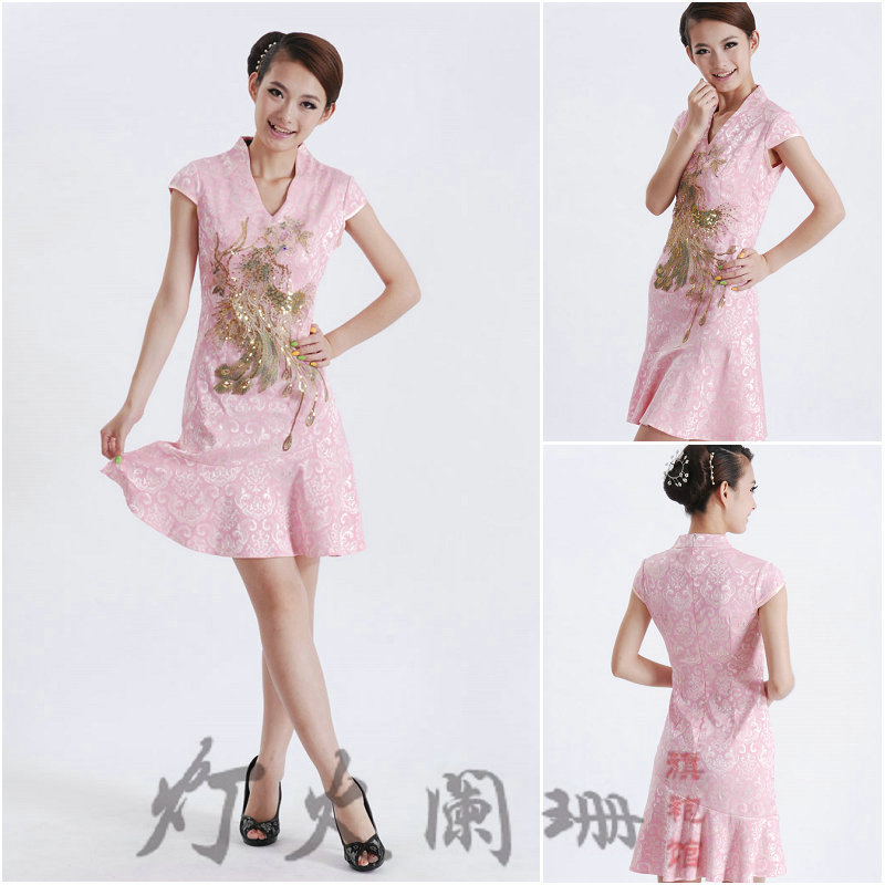 2012 summer quality lace cheongsam dress short-sleeve pink chinese style vintage married bridesmaid slim embroidered dress(China (Mainland))