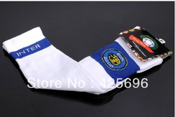 Free shipping White inter milan football socks thickening towel football socks stockings ball socks(China (Mainland))