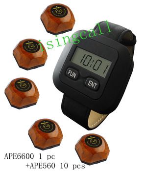 wireless service calling system,servicing custom,10 pcs buttons and one watch for waiter