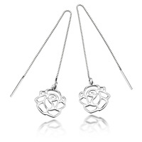 Free Shipping Fashion elegant rose 925 pure silver earring female 22065  Fashion Jewelry 2013