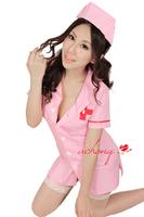 free shipping sexy Nurse uniforms sexy dress nurse clothing set white pink color 4 pcs