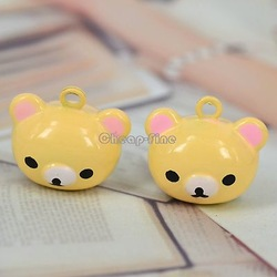 10 pcs Cute yellow tone bear head bell charm pendant 18x20mm A489(China (Mainland))
