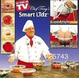 Free shipping retail Chef Tony&#39;s Smart Lidz Food Wrap Vacuum Seal Containers Save Fresh Food ( 4pcs/set ) /As Seen on TV(China (Mainland))