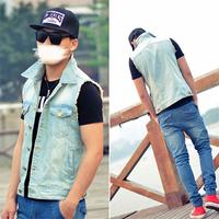 2014 summer light color wash water male casual sleeveless vest slim thin short design denim vest male  blue jean vest for men