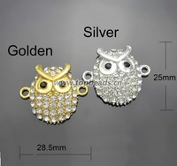 Free Shipping New Rhinestone Crystal Metal Owl Connector fit for Making Bracelets, 30pcs/lot