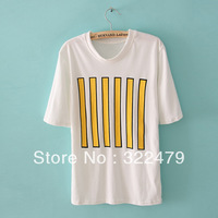 A96 Hot Selling Women Ladies' vertical stripes T-Shirt  with  a pocket Free Shipping,brand new women t-shirt
