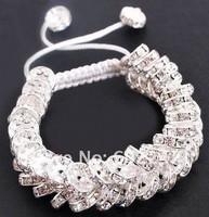 Free shipping, B Grade, New Design Shamballa Bracelets, Crystal Spacer Beads Shamballa