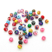 8mm 200pcs Wholesale Mix Color Handcraft Round Polymer Clay Beads for European Bracelet&Necklace Free Shipping HA685