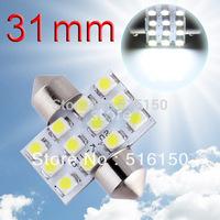 2pcs 31mm 12 SMD Pure White Dome Festoon 12 LED Interior Car Light Bulb Lamp Interior Lights C5W Led