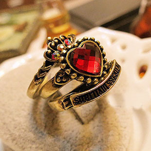 free shipping vintage red Love ring set ring finger ring wholesale price(China (Mainland))