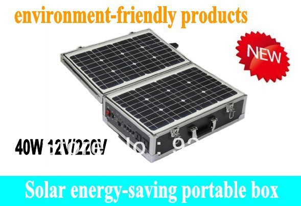 Green energy solar power portable box system 40W solar panel + battery + two Led lighting systems(China (Mainland))