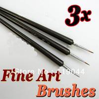 Free Shipping 3pcs/set Tiny Drawing Painting Pen Nail Brush Set Acrylic Nail Art Brush NA947