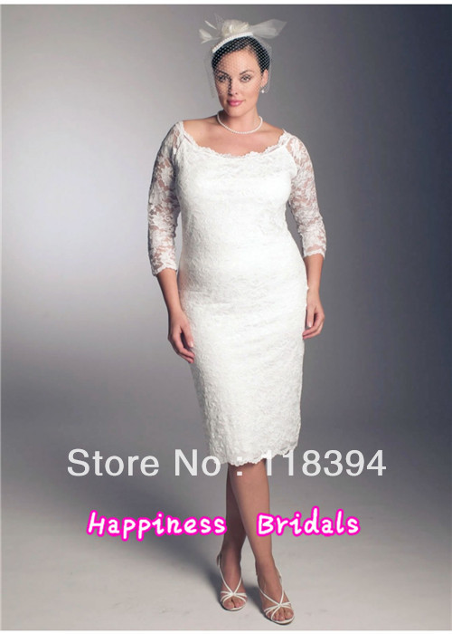 Free shipping plus size lace long sleeve wedding gowns Lace Tea length bridal gown(China (Mainland))