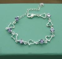 Wholesale & Retail charms personality 925 Silver Bracelet free shipping.Fashion Crystal Heart 925 Silver Bracelet