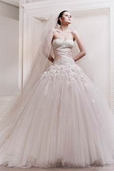 2013 New Arriva Ball Gown Appliqued Strapless Ivory Country Wedding Dress(WDZU-1013)