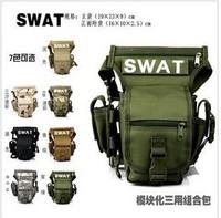 2014 FREE SHIPPING men's Multifunctional swat leg bag outdoor sports waist pack bags ride waterproof military equipment bag