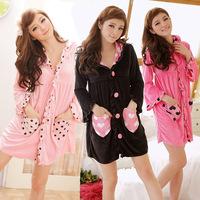 FREE SHIPPING! Female summer sleepwear lounge bathrobe 100% cotton velvet long-sleeve with a hood sexy robe bathrobes