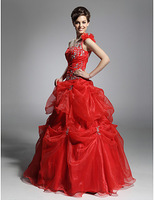 Stunning Ball Gown One Shoulder Floor-length Satin Organza Evening/ Prom Dress Wedding Dress