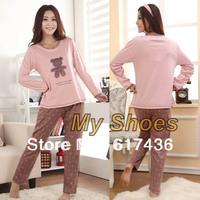 New Women's Cotton Cartoon Bear/Dot Design Long Sleeve Pajamas Sleepwear Sleep Clothes cheap Free shipping 11177