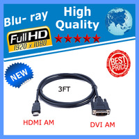 500pcs/LOT 3FT Gold HDMI to DVI Male Cable for HD PC LCD TV HDTV DVD with Cheapest Price