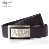 SEPTWOLVES Wolf Man's Genuine Leather Belt  Alloy Buckle Man Mens Real Leather Belts Best Quality NO:6800 Free Shipping