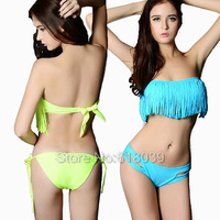 B008 VS Brand Triangle Bikini Set For Women Bathing Suit Boho Tassel Fringe Sexy Beach wear Hot Swimsuit Sale Cheap 2014 Summer