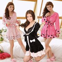 FREE SHIPPING! Sleepwear women's underwear lounge autumn velvet long-sleeve with a hood lacing robe bathrobes dot