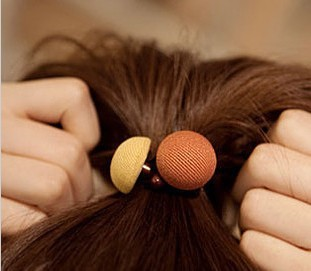 exquisite accessories sweet button small circle mushroom fabric hair rope headband tousheng 4g