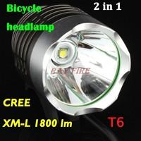 Wholesale - 1800 Lumens CREE XML T6 LED Bicycle Bike Headlight Lamp Flashlight Light Headlamp With battery & Charger 40pcs DHL
