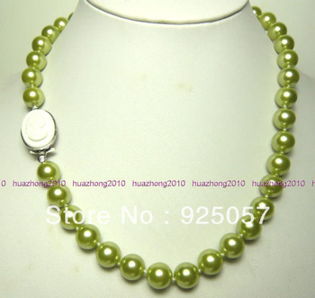 Charming 10mm Green South Sea Shell Pearl Necklace 18'' AAA Fashion jewelry