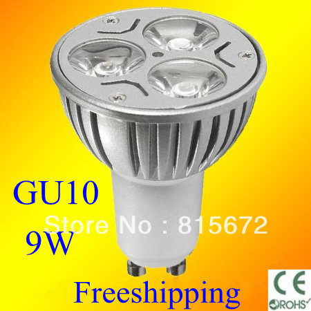 Aluminum LED Bulbs spotlight gu10 9w led lamp energy saving 3*3w high power ac 110v-220v long working time Freeshipping(China (Mainland))
