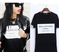 women men print letters  Ballinciaga Harlem tee t shirt short sleeve Fashion black black