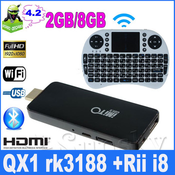 RII I8 keyboard and imito QX1 RK3188 Quad Core Android 4.2 2GB RAM 8GB ROM Smart Mini TV Box IPTV HDMI PC Stick Dongle