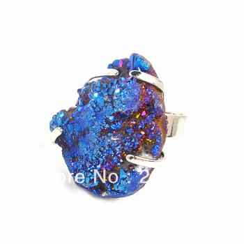 2013 HOT Artilady New Fashion Drusy Agate Drazy Quartz Stone rings Jewelry