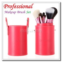 High quality IS MINE 13pcs Professional Makeup Brush Set Cosmetic Brush Kit Makeup Tool with Cup Holder Case For Women Red Color