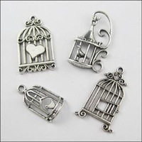 YBB 26mm-35mm Mixed Tibetan Silver Birdcage Charms Pendants for Jewelry Making DIY F114