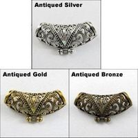 YBB Wholesale P023 17.5x35mm Zinc alloy Tibetan Antiqued Silver Gold Bronze Hollow Curved Tube metal Spacer Beads Charms
