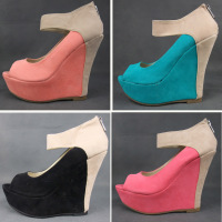 2013 women's shoes candy color patchwork foot wrapping open toe wedges sandals heel shoes 5.5 - 10 size