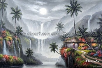 100% hand painted Hawaii Waterfalls Forest Water Pool Home Palms decoration Oil Painting Art free shipping High quality