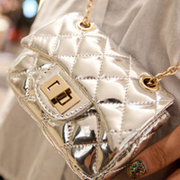 Japanned leather shiny chain mini check small bag messenger  bags silver plaid small sachet women's handbag