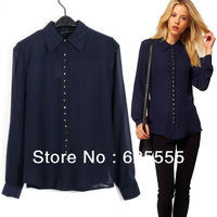 New Arrival, 2013 Women Single-breasted Chiffon Shirts, Fashion Style Ladies Turn-down Collar Blouses with Rivet, S M L Size